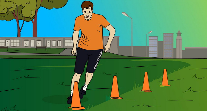 Soccer and football drills with cones - man ir running