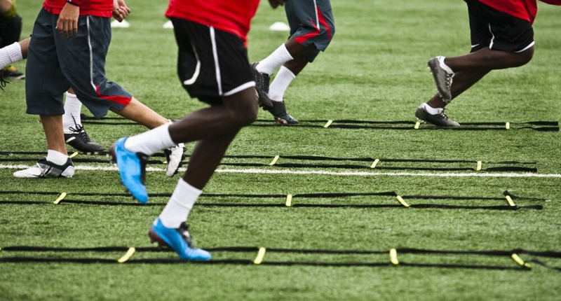 Soccer and football drills with ladder at home